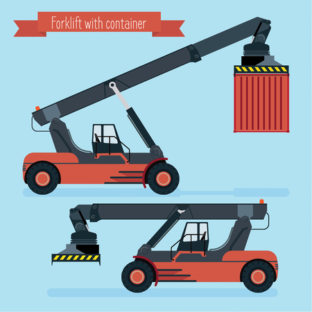 Flat forklift container. Two positions of the boom. With and without the container. blue background.