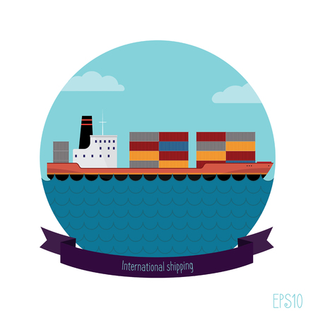 displacement: Tanker container. The flat illustration modern transport ship loaded with containers. It contains tape with an inscription.