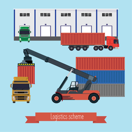 Illustration logistic stages. The port forklift loading the container on the truck. Trucks bring containers to the warehouse and unloaded. Light background. Ilustração