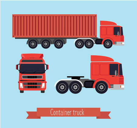 Illustration of a flat truck. Truck side, front, and with the container. Background light.