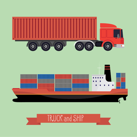Illustration of a flat truck and ship. The truck side and the side of the ship. Both types of transport containers. Background light. Ilustração