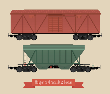 The flat illustration railcars. Two carriages of different types. Hoppers and covered wagon. Beige background. Ilustração