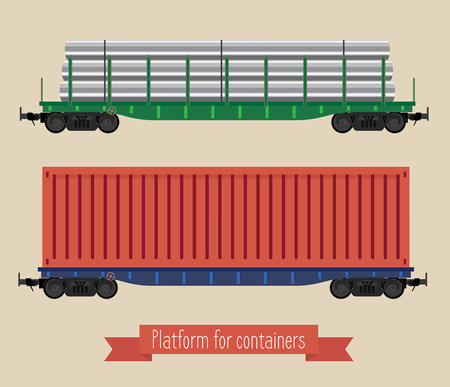 hopper: The flat illustration railcars. Two carriages of different types. Two platforms, one for long loads, the second container. Beige background. Illustration