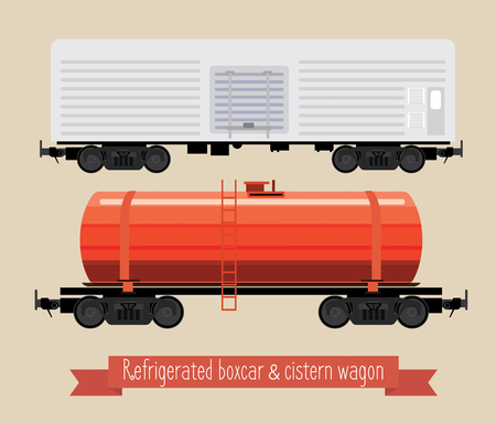 The flat illustration railcars. Two carriages of different types. Wagon refrigerator and tank. Beige background.