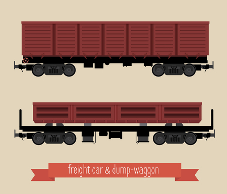 The flat illustration railcars. Two carriages of different types. Open the car and dump-car train. Beige background.