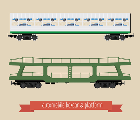 The flat illustration railcars. Two carriages of different types. Covered wagon for trucks and platform trucks. Beige background.