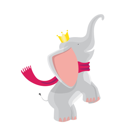 Cute Baby Elephants in a crown and scarf.