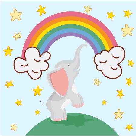 Cute elephant cartoon on rainbow background and stars vector illustration. Stylized animal.