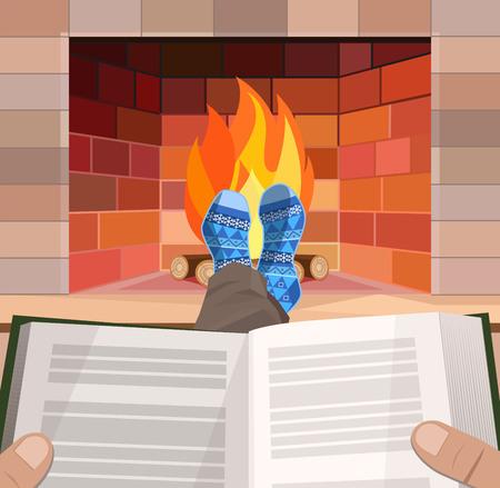 personas leyendo: Hombre con el libro se encuentra en frente de la chimenea, ilustraci�n vectorial
