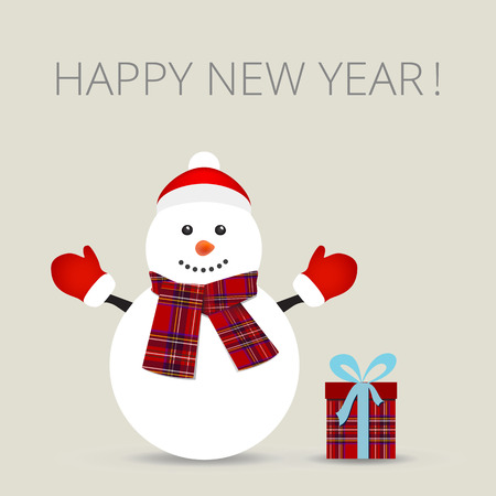 snowman: Snowman, greeting card, vector illustration