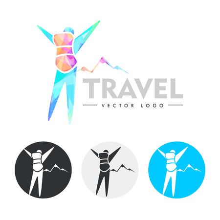 traveller: Traveler. Modern, colourful logo. Vector Illustration