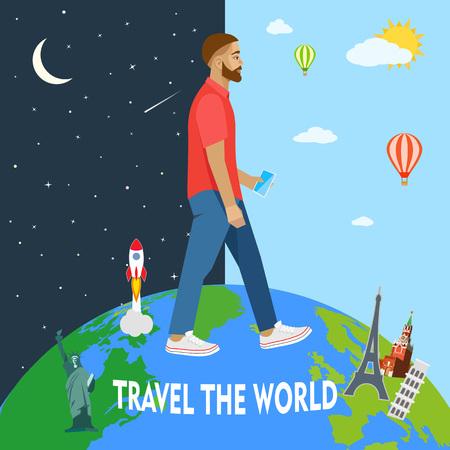 dia y noche: El hombre moderno viaja por el mundo. Día Noche. Ilustración vectorial