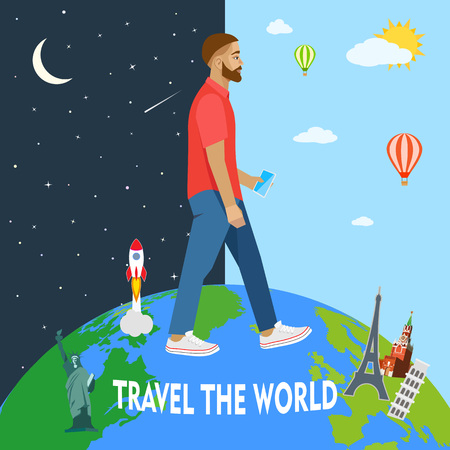 day and night: Modern man travels the world. Day, night. Vector illustration Illustration