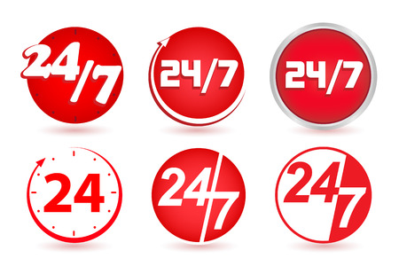 red arrows: 24 hours a day, 7 days a week. Time clock. Vector, set button, icon, sign