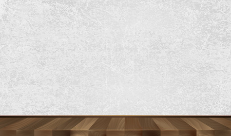 Grey wall, wooden parquet. Background. Vector illustration