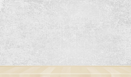 Grey wall, wooden parquet, Background.  Ilustração