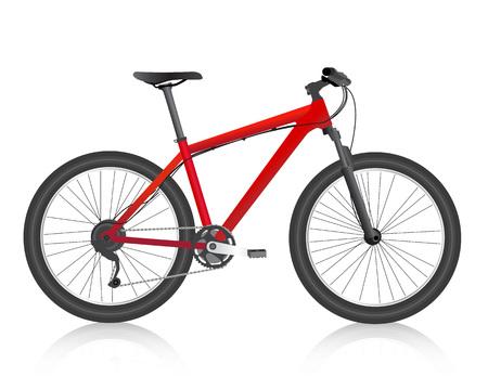 bicicleta vector: bicicleta de montaña realista rojo vector Vectores