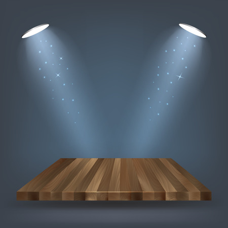 floodlight: Wooden shelf, stand with lighting vector illustration