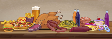 fatty: Unhealthy food on a wooden table. Vector illustration Illustration