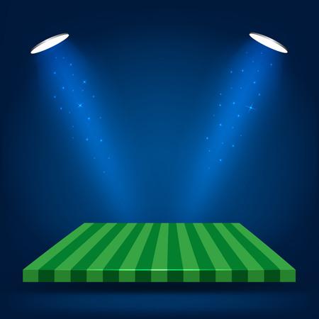 backlight: Football field, stand with lighting vector illustration Illustration