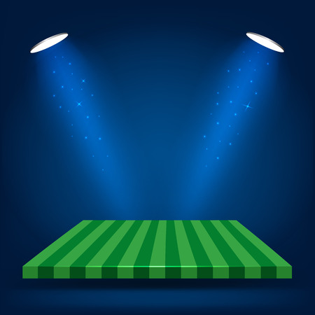 football field: Football field, stand with lighting vector illustration Illustration