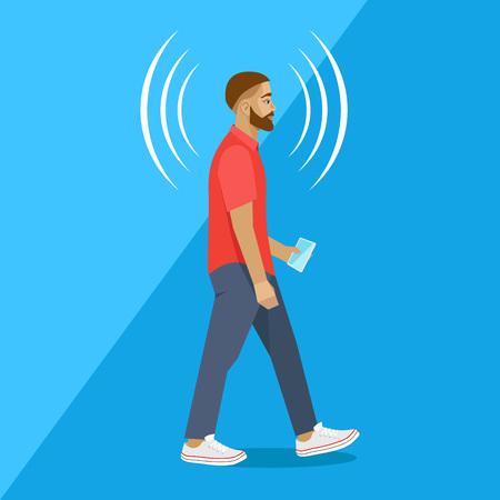 persona caminando: El hombre moderno camina con el teléfono inteligente, el polo rojo. Conexión Vectores
