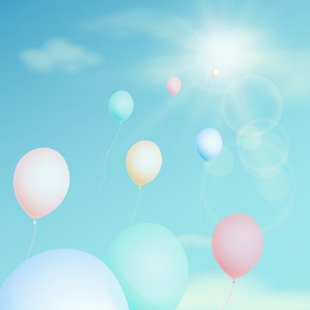 ballon coloré voler dans le ciel. Vector vintage filtre