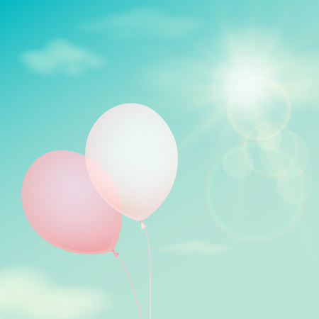 gas ball: Pink balloon on the background sky. Vector vintage filter