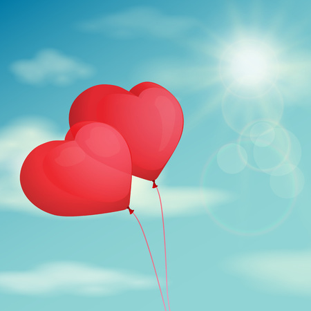 red sky: Red balloon, heart on the background sky.