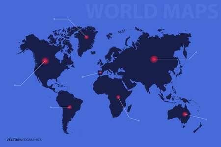 World Map, point, direction. Infographics vector