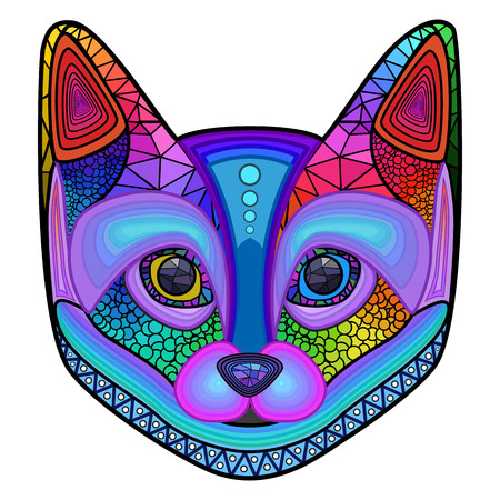 cat illustration: Head colorful cat design ornament, mosaic vector illustration