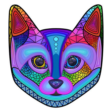 Head colorful cat design ornament, mosaic vector illustration