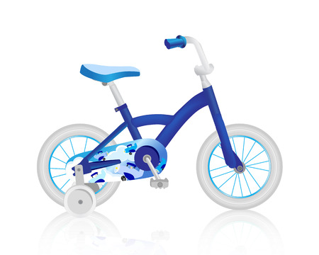 items: Realistic blue baby bicycle.
