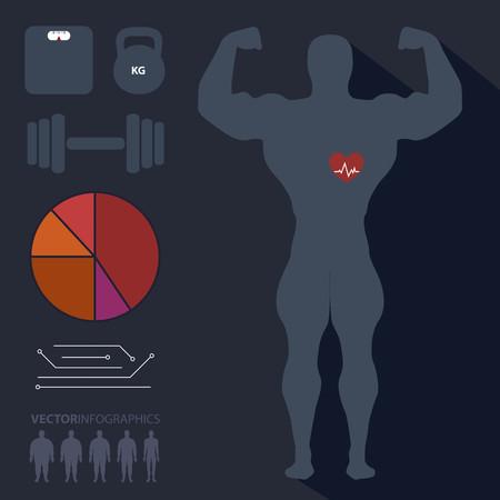 medical heart: Bodybuilder, man, sports, fitness, infographics