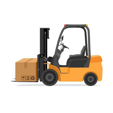 elevator operator: Forklift truck with box. Modern illustration Illustration