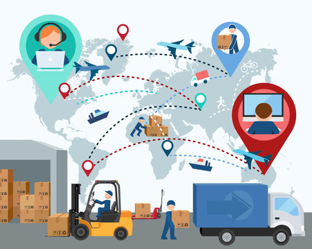 logistics world: Production, transportation, delivery of cargo. People. Infographics. Forklift. Map. illustration