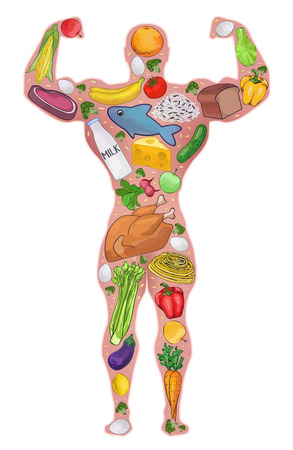 Athlete food, healthy people. Diet, protein food. Sport, bodybuilder. illustration Ilustrace