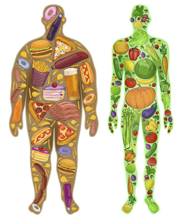 nutrition health: Human, thin, fat. Nutrition, food. New. illustration