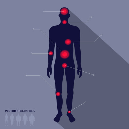 heart pain: Man silhouette, pain point. medical infographics