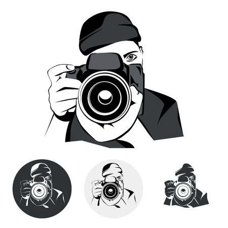 digital camera: Stylized photographer, graphic illustration, vector