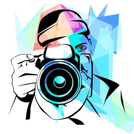 Le photographe, mode fond coloré, illustration vectorielle Vecteurs