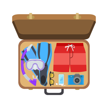 Open suitcase with clothes for the beach, vector illustration