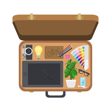 valigia: progettista Valigia, set di cose, illustrazione vettoriale