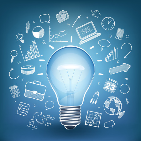 lamp: blue lamp, white icons, vector illustration