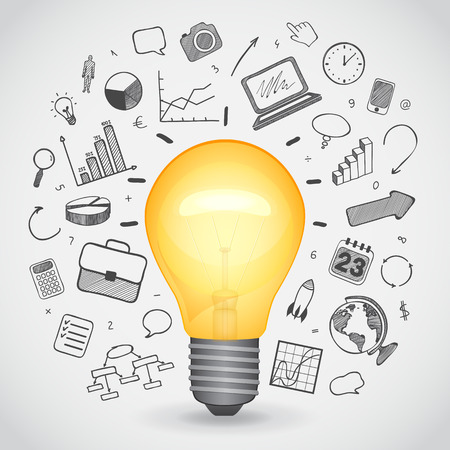 bulk: Bulk yellow lamp with hand-drawn icons, vector illustration Illustration