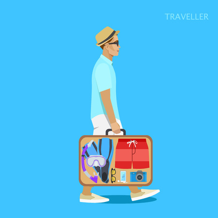 traveller: Traveler with a suitcase of things in the hat, vector illustration