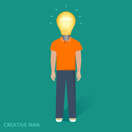 t bulb: Creative people, lamp, idea vector illustration Illustration