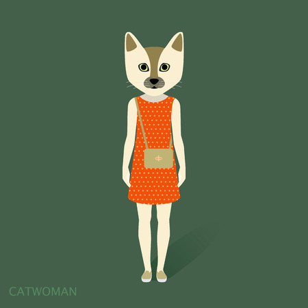 catwoman: Catwoman, dress, vector illustration