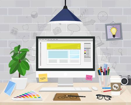 working desk: Desktop graphic designer, character set, vector illustration Illustration