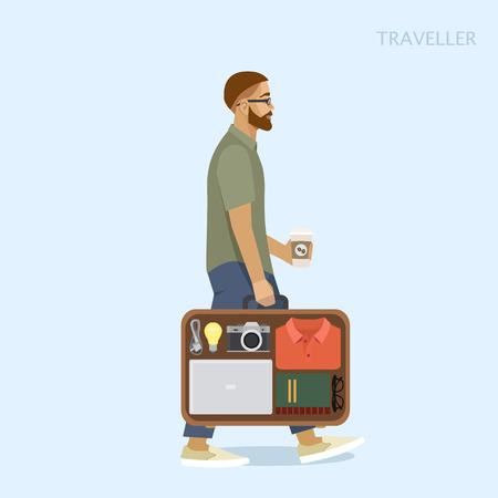 gait: Man bag of things, holding coffee, vector illustration